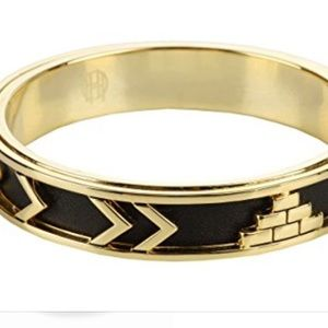 House of Harlow Aztec Bangle Black Leather & Gold